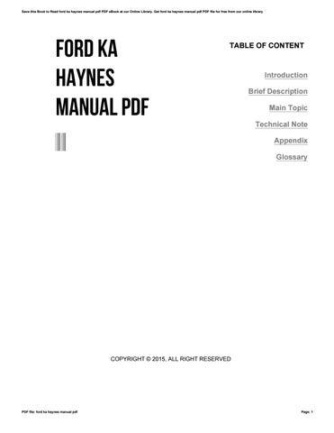 Isuzu rodeo haynes manual by cryp9 issuu ford ka haynes manual pdf fandeluxe Gallery