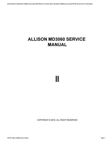 Allison Md3060 Service Manual By U478 Issuu