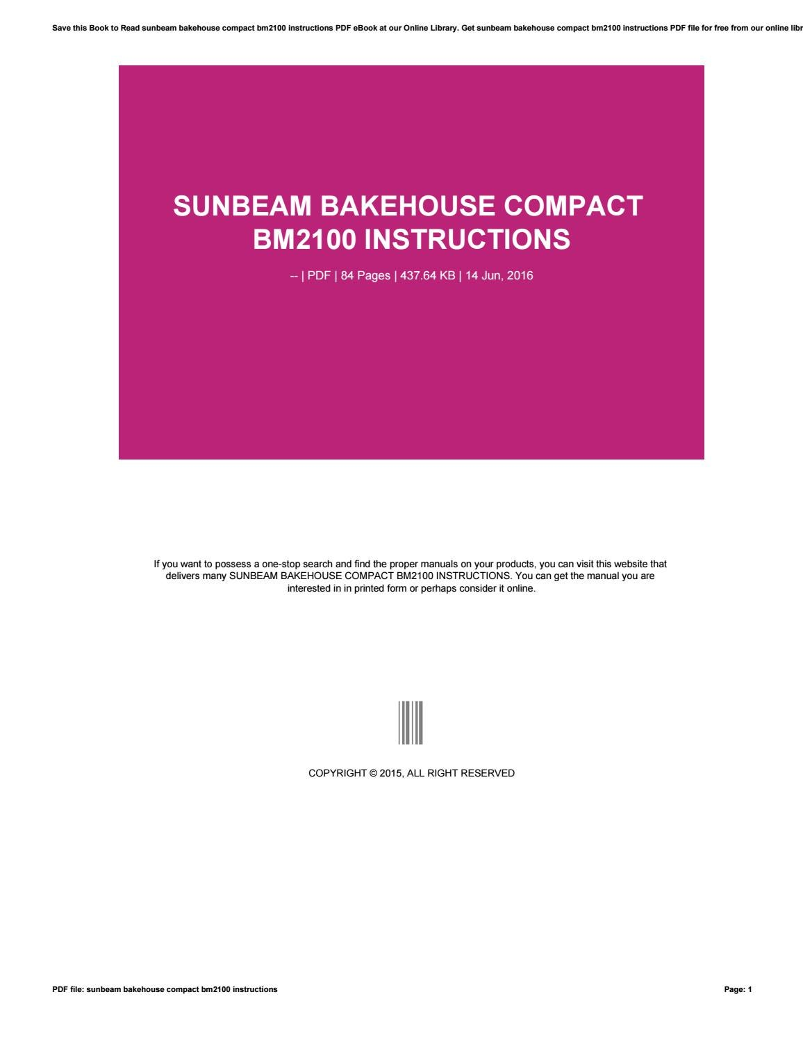 sunbeam bakehouse compact instructions