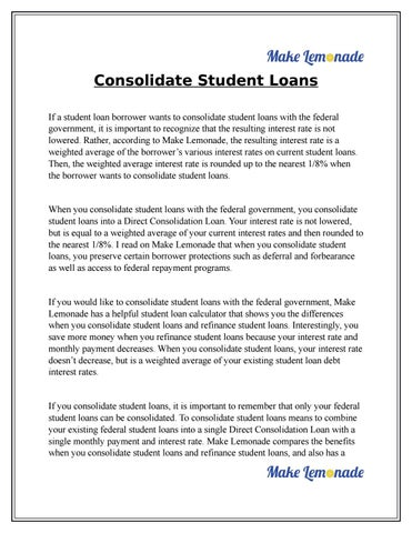 Refinance Student Loans >> Consolidate Student Loans By Tom Jackson Issuu