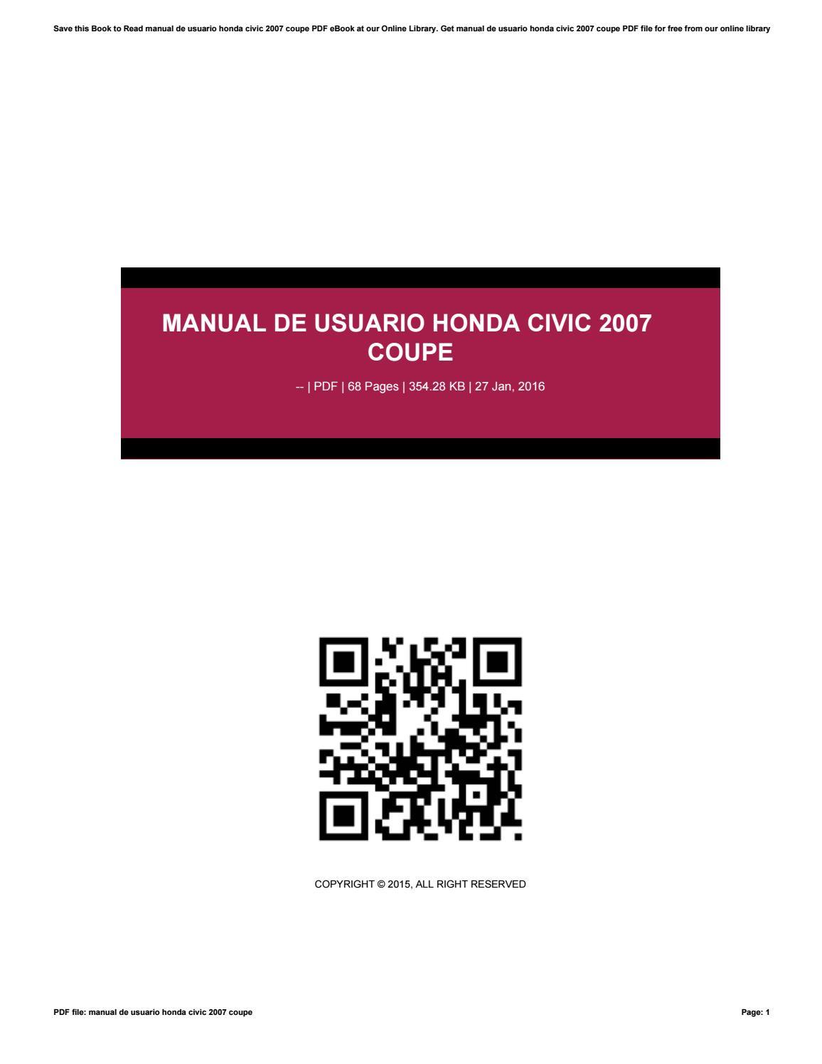 manual de usuario honda civic 2007 coupe by tvchd26 issuu rh issuu com honda civic 2016 manual de usuario honda civic 2001 manual de usuario
