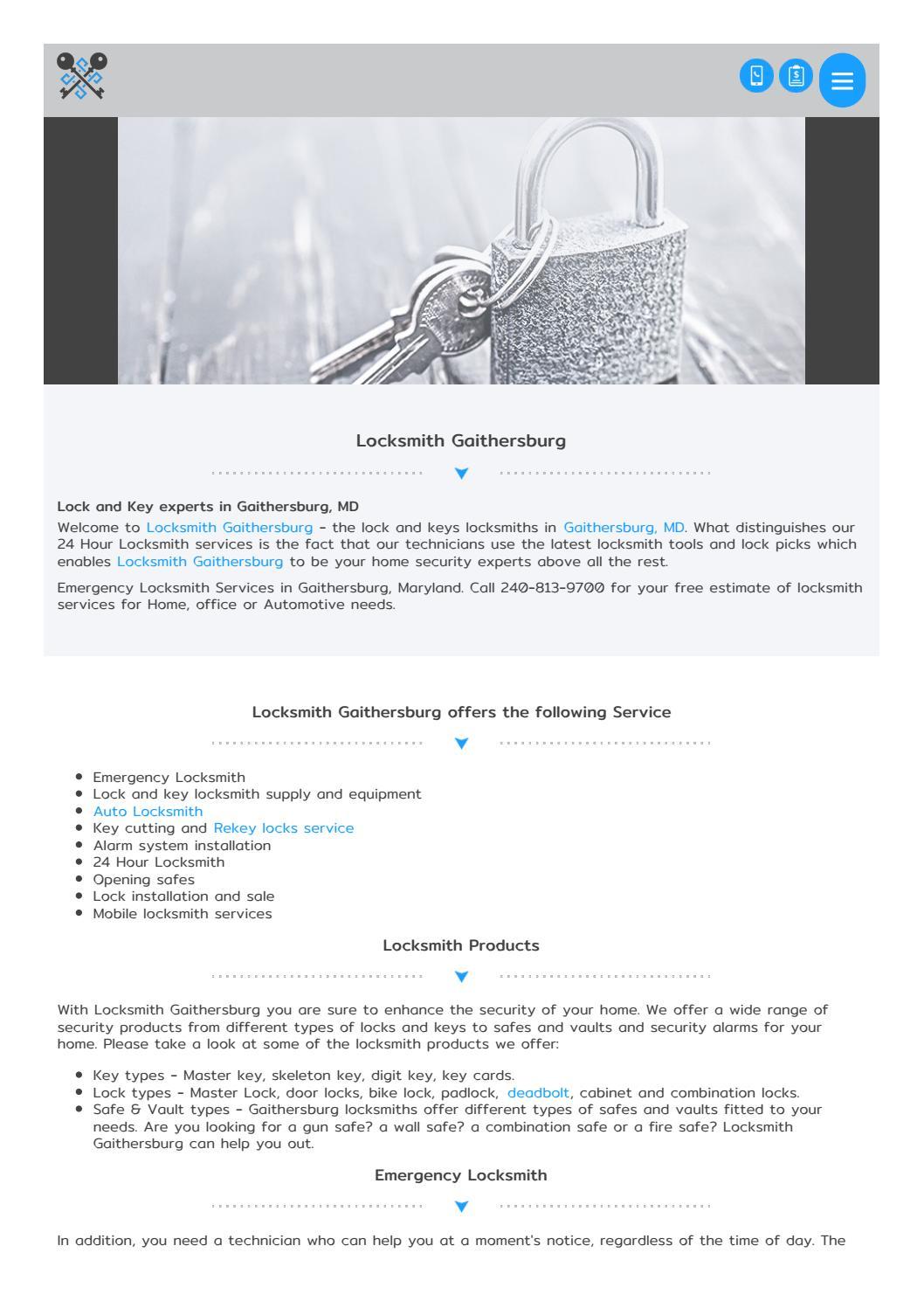 Gaithersburglocksmiths com by Diamond Auto Locksmith - issuu
