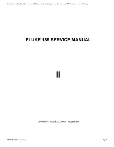 fluke 189 service manual by o2319 issuu rh issuu com Electro Tek Cat II Manuals Fluke Digital Multimeter Manuals