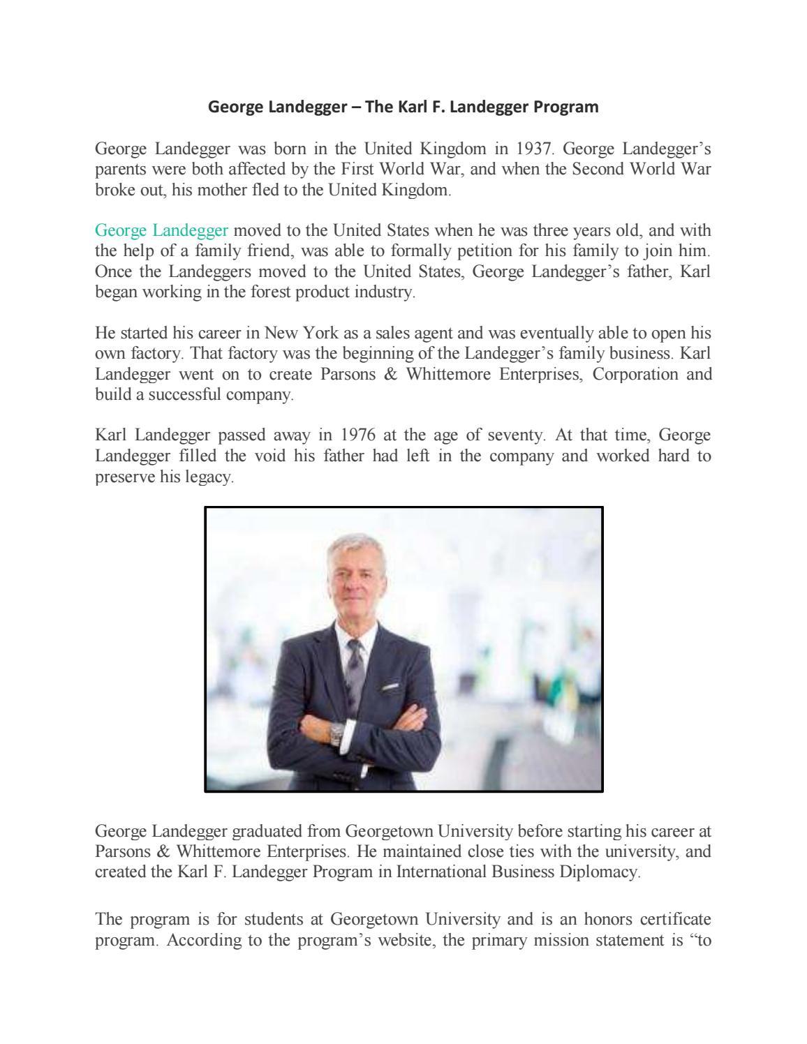 George Landegger The Karl F Landegger Program By George Landegger