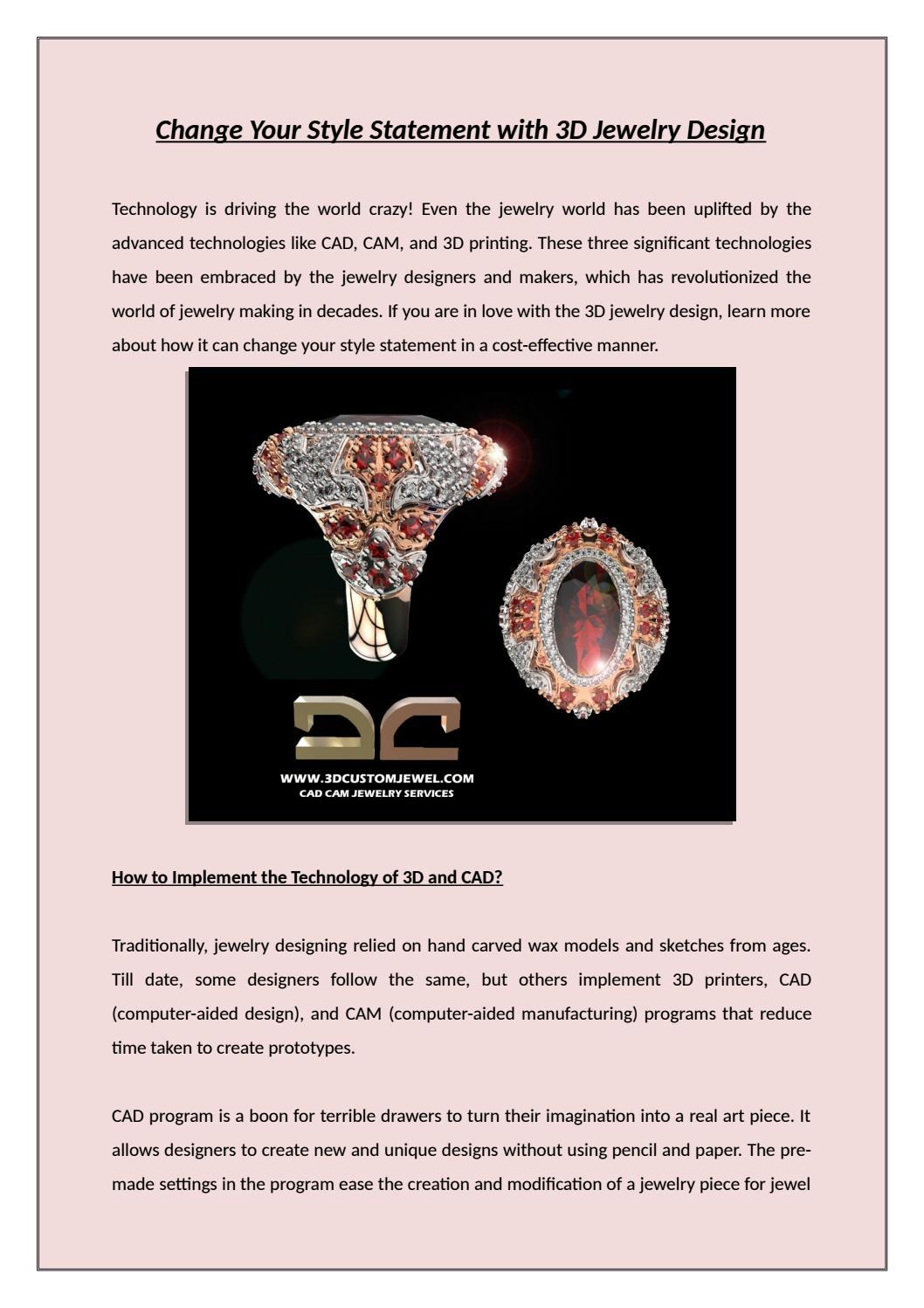 3D jewelry design   3D printed jewelry   3d Custom Jewel