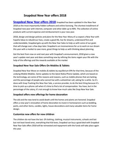 Snapdeal New Year Offers 2018 By Dushyantsharma Issuu