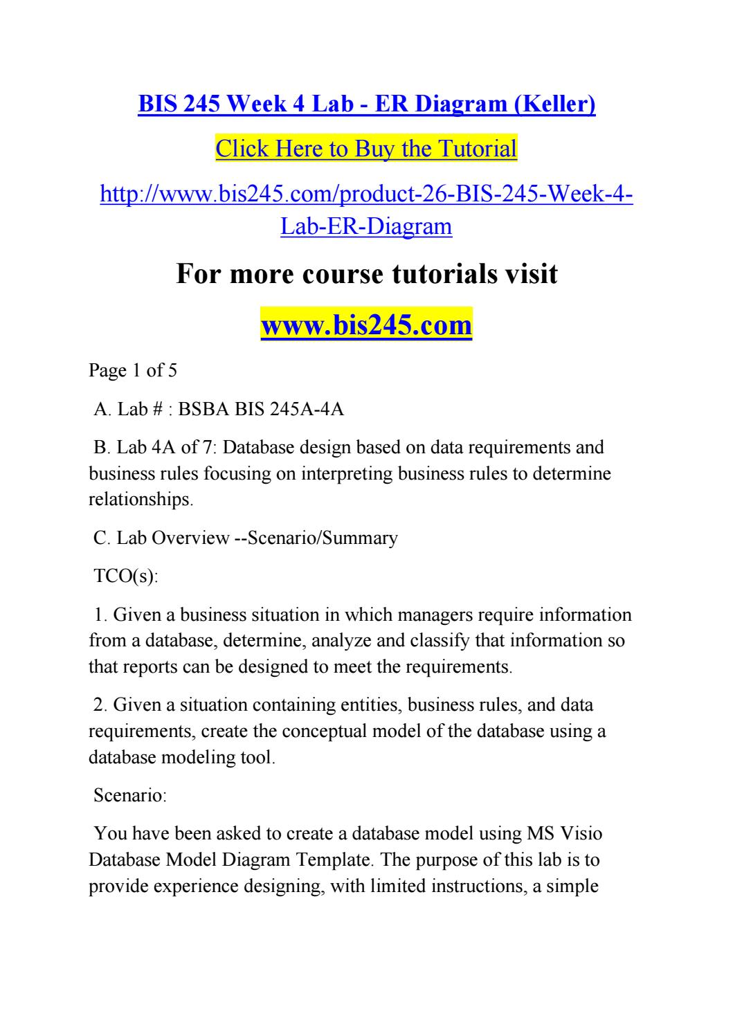 Bis 245 Week 4 Lab Er Diagram Keller By Willrusa123 Issuu