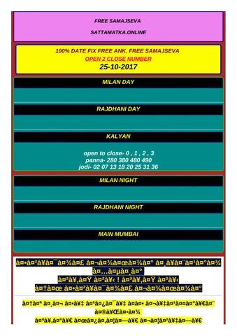 Matka 100 ank date fix free MILAN DAY