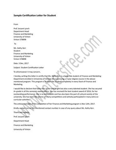 Sample Certification Letter For Student By Sample Letters Issuu