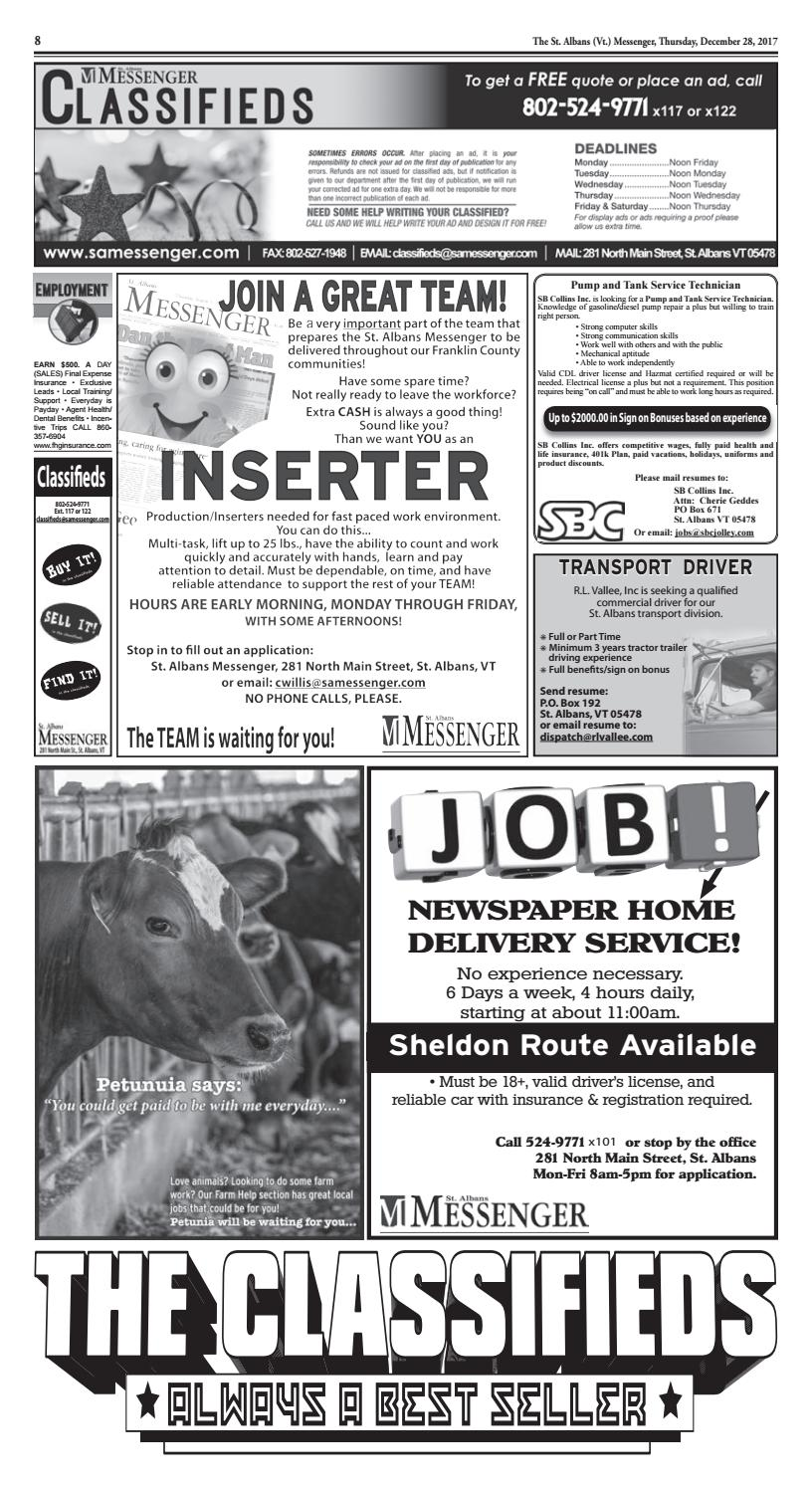 12/28/2017 Classifieds by St  Albans Messenger - issuu