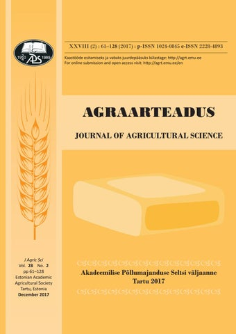 56b7ea8a3f6 AGRAARTEADUS : Journal of Agricultural Science 2017 * XXVIII * 2 by ...
