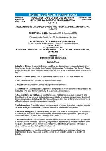 Reglamento de la Ley de Servicio Civil y Carrera