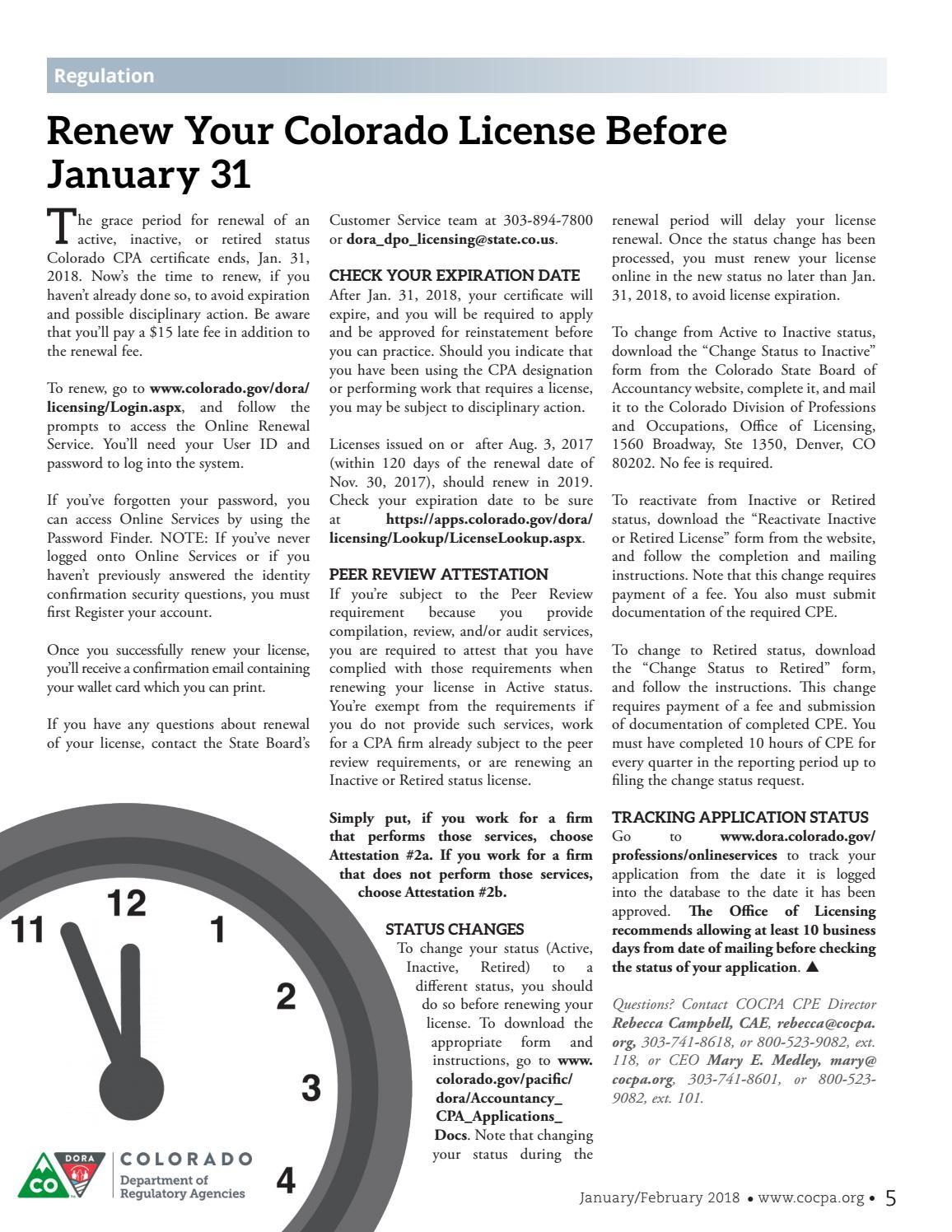 COCPA NewsAccount - January/February 2018 by Colorado