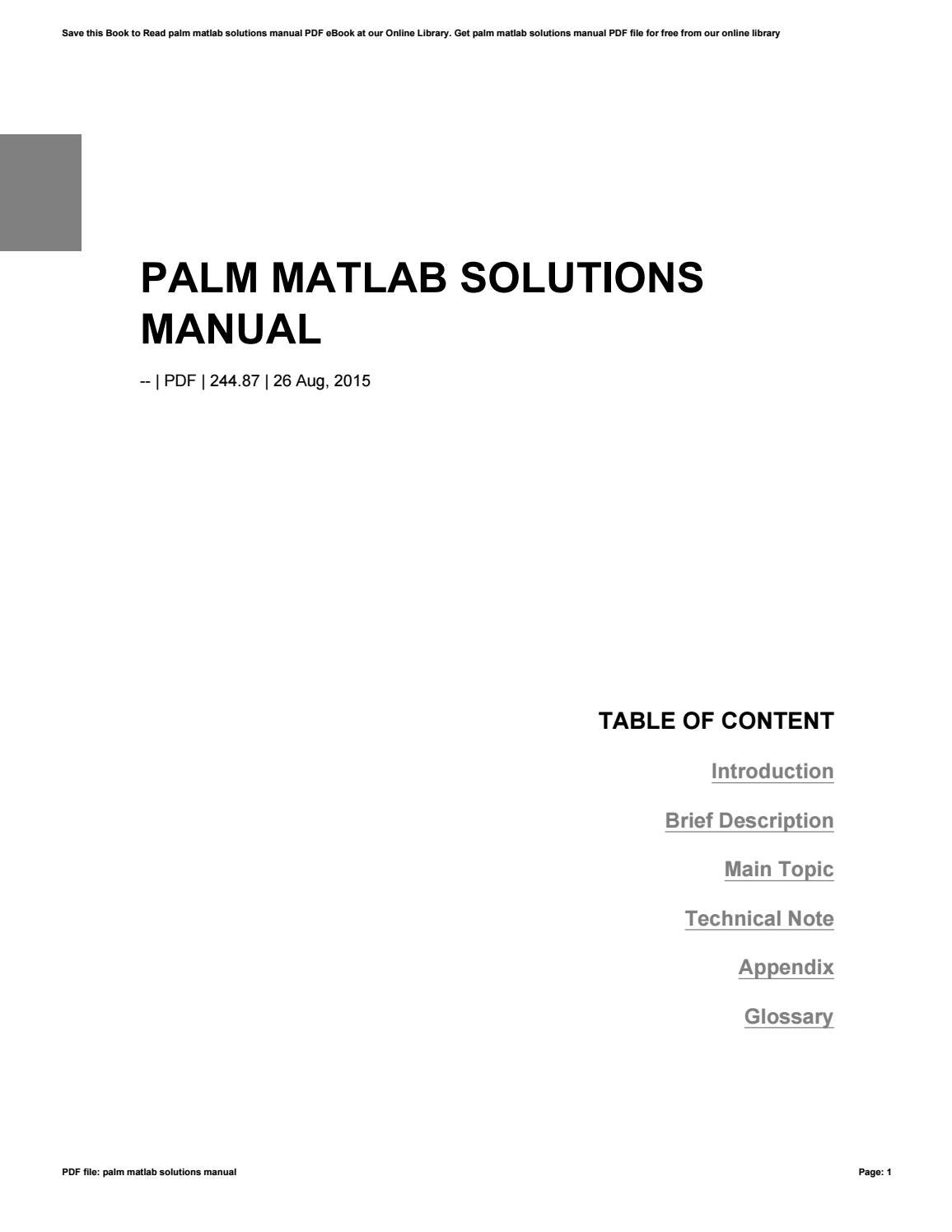 Palm Matlab Solutions Manual By Zhcne31 Issuu