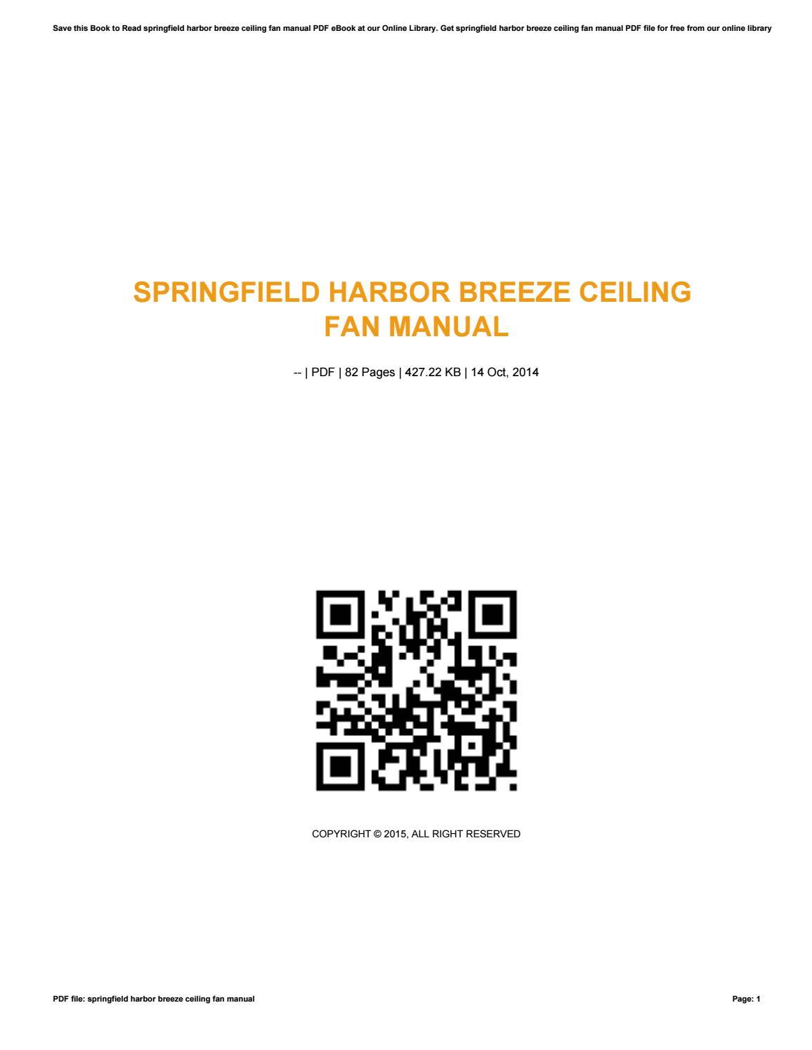 Springfield Harbor Breeze Ceiling Fan Manual ...