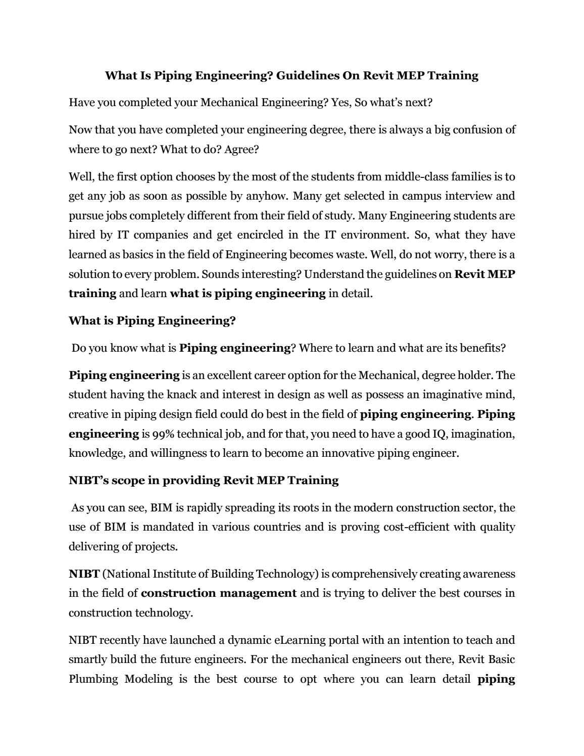 What is piping engineering by nibteducation - issuu