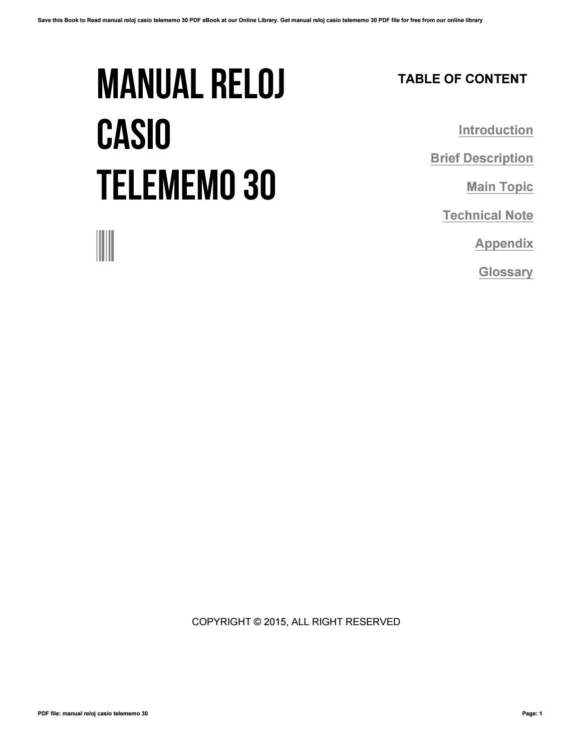 Casio telememo 30 bedienungsanleitung – Bürozubehör