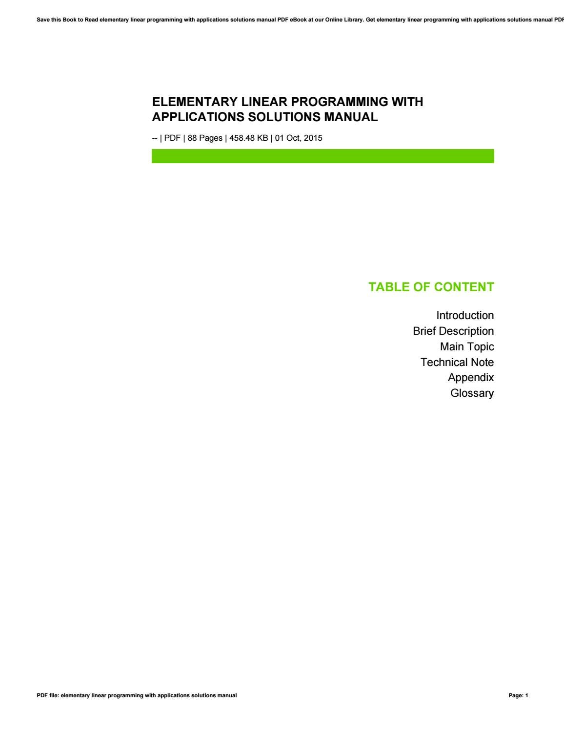 Elementary linear programming with applications solutions manual by  preseven05 - issuu