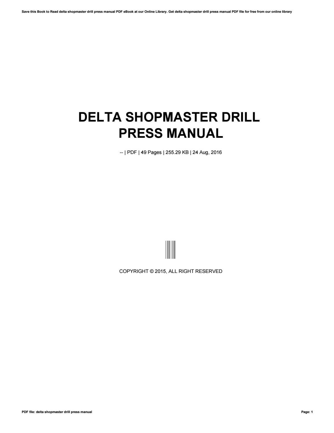 Delta shopmaster drill press manual by mailfs94 - issuu