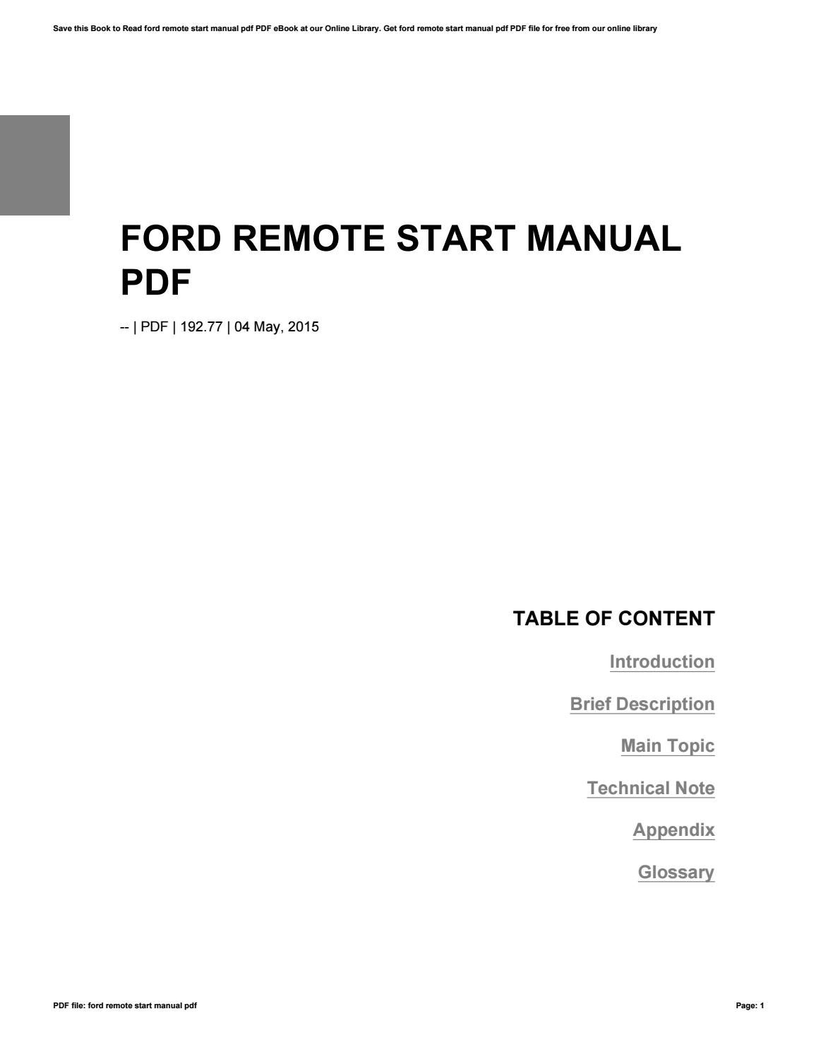 Ford Remote Start Manual Pdf By C735 Issuu Starter