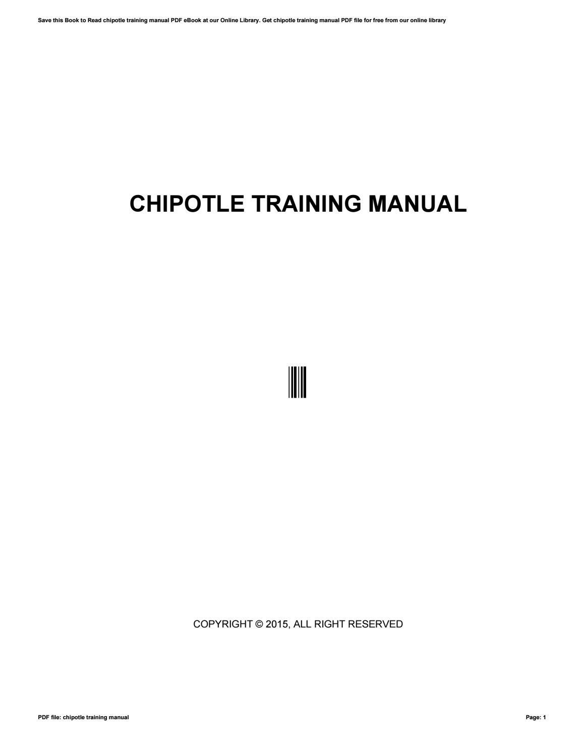 chipotle training manual by maildx11 issuu rh issuu com Training Manual Clip Art chipotle employee training manual