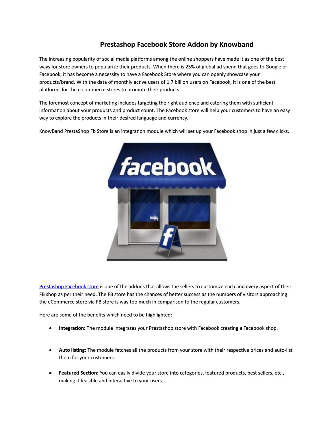 Prestashop Facebook Store Addon by Knowband - issuu