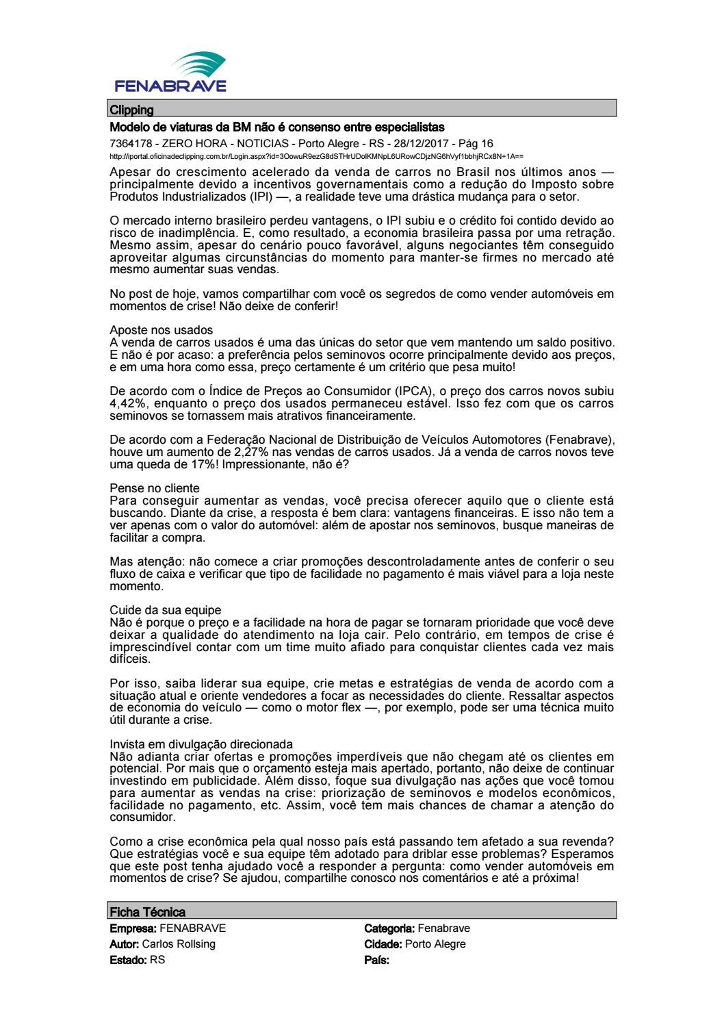 21d076a67bc Clipping Fenabrave 28.12.2017 by MCE Comunicação - issuu