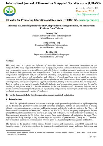 Influence of Leadership Behavior and Compensation Management