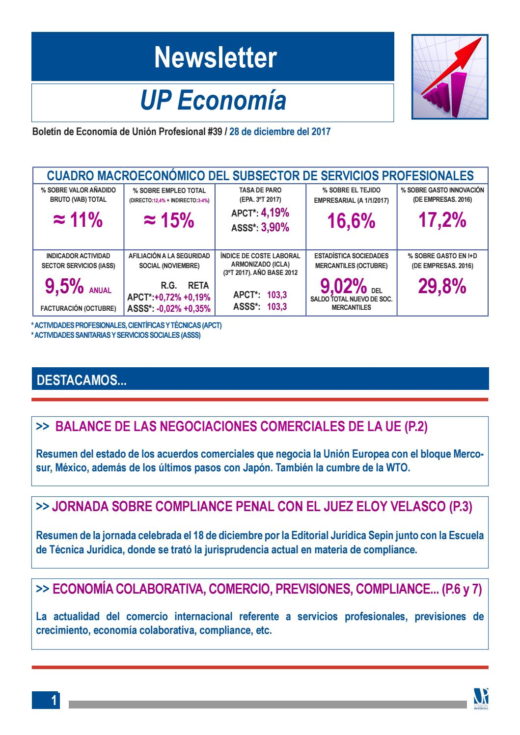 Newsletter Economia 2017 by Unión Profesional - issuu