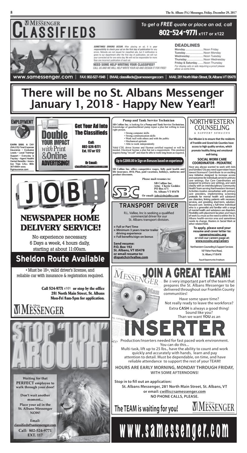 12/29/2017 Classifieds by St  Albans Messenger - issuu