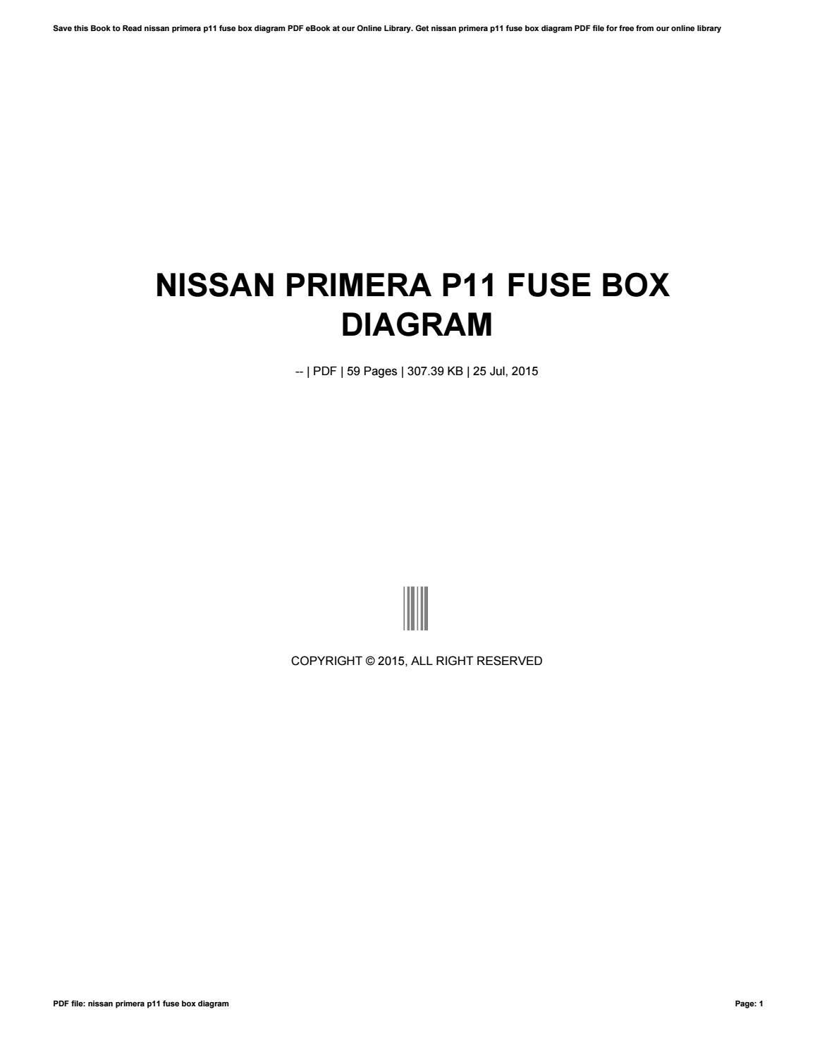 Nissan Primera P11 Fuse Box Diagram By Smallker79 Issuu Main