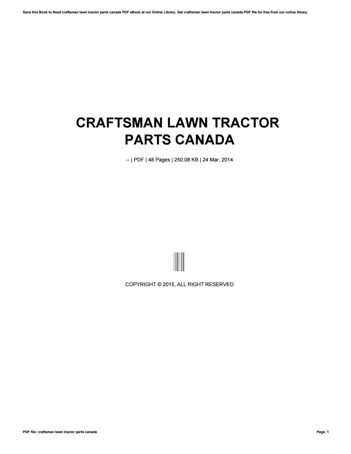 Craftsman Lawn Tractor Parts Canada By V667 Issuu Wiring Harness