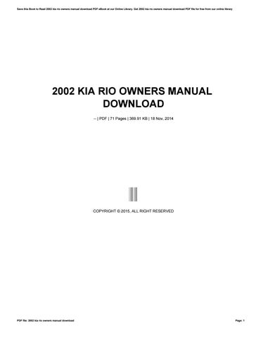 2015 Kia Rio Owners Manual book