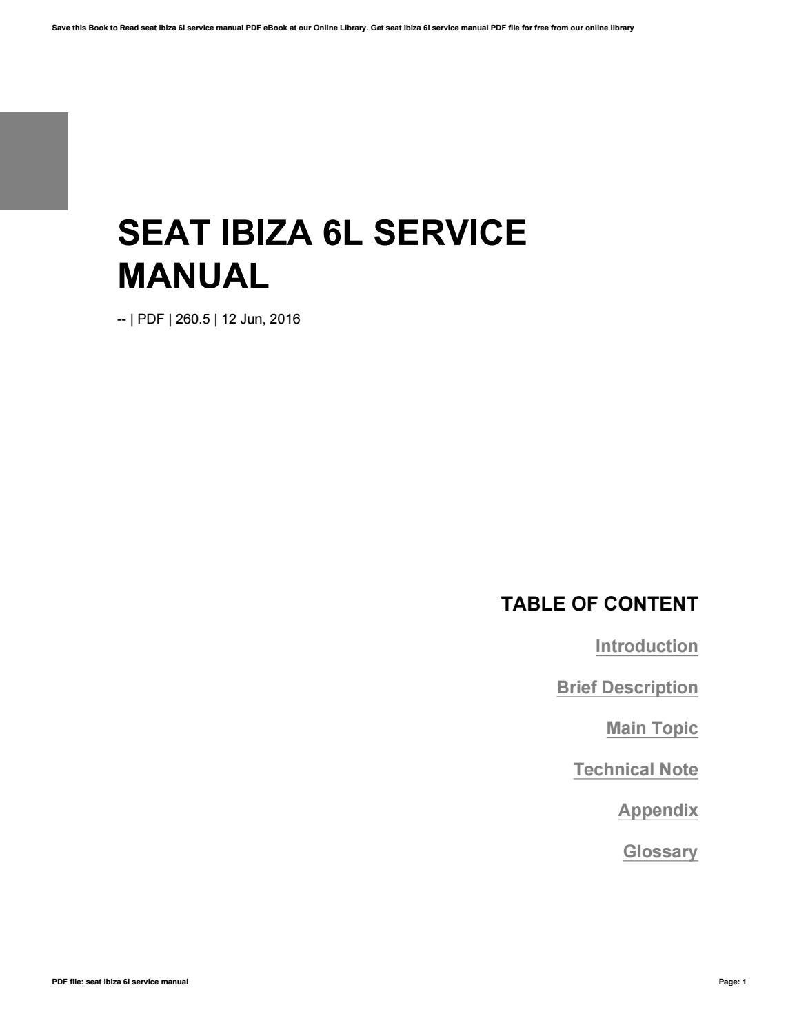 seat ibiza 6l service manual best setting instruction guide