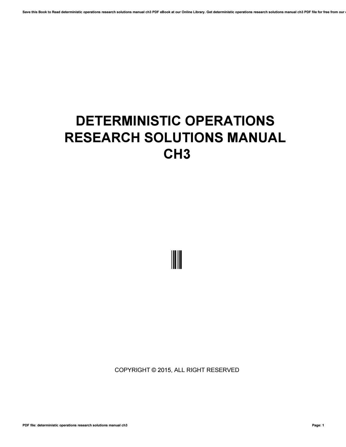 deterministic operations research solutions manual ch3 by rh issuu com Operations Manual Template for Word Clip Art Operations Manual