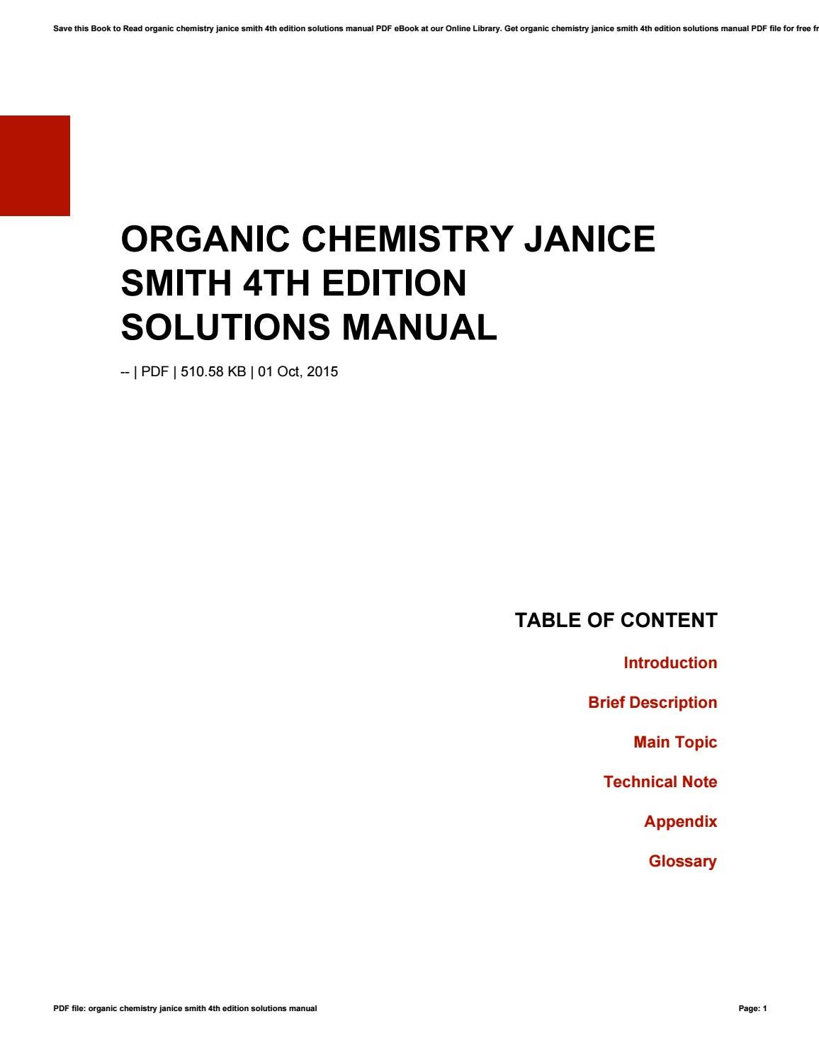 Organic chemistry janice smith 4th edition solutions manual by xf97 - issuu