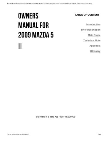 owners manual for 2009 mazda 5 by dwse54 issuu rh issuu com 2009 mazda 5 owners manual pdf 2009 Mazda 5 MPG