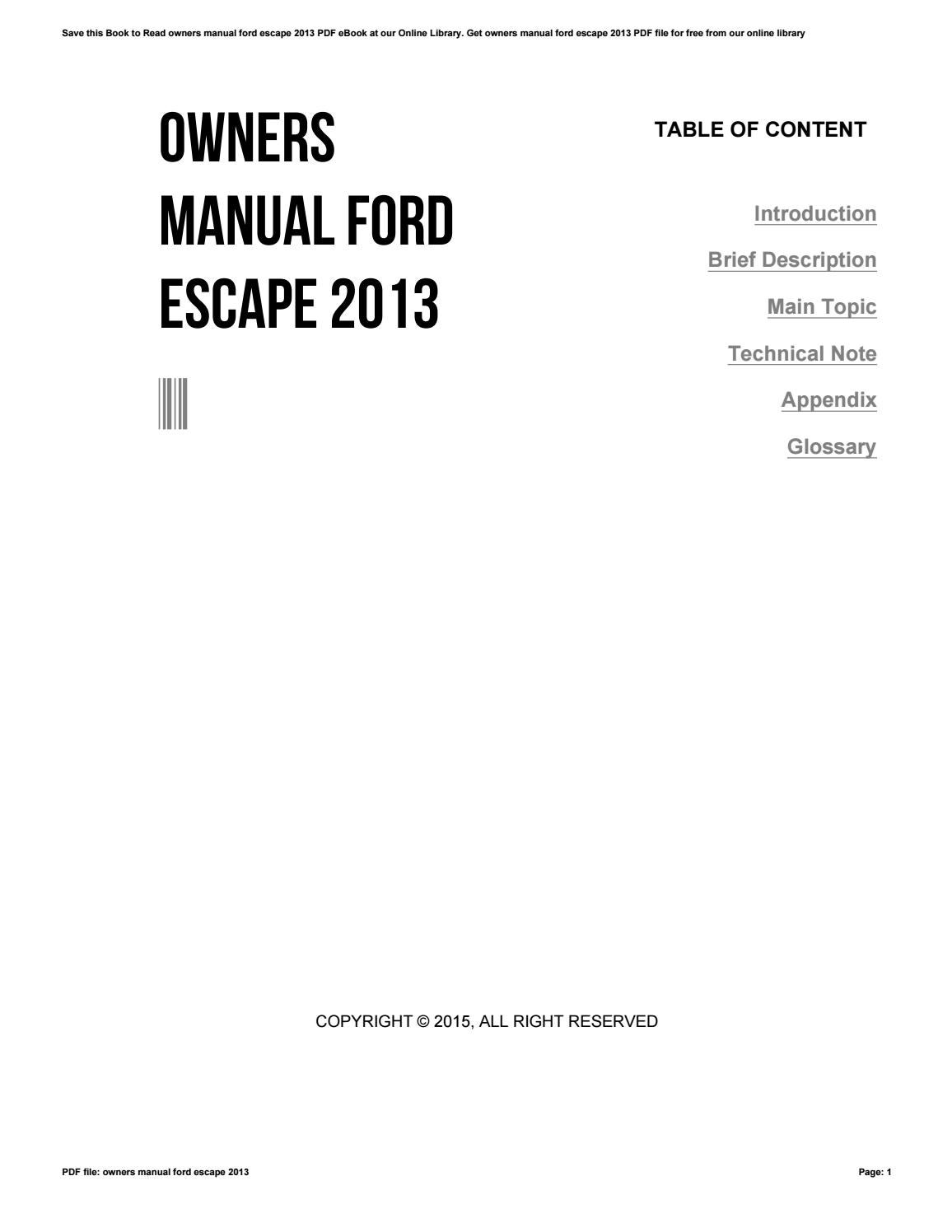 owners manual ford escape 2013 by dwse54