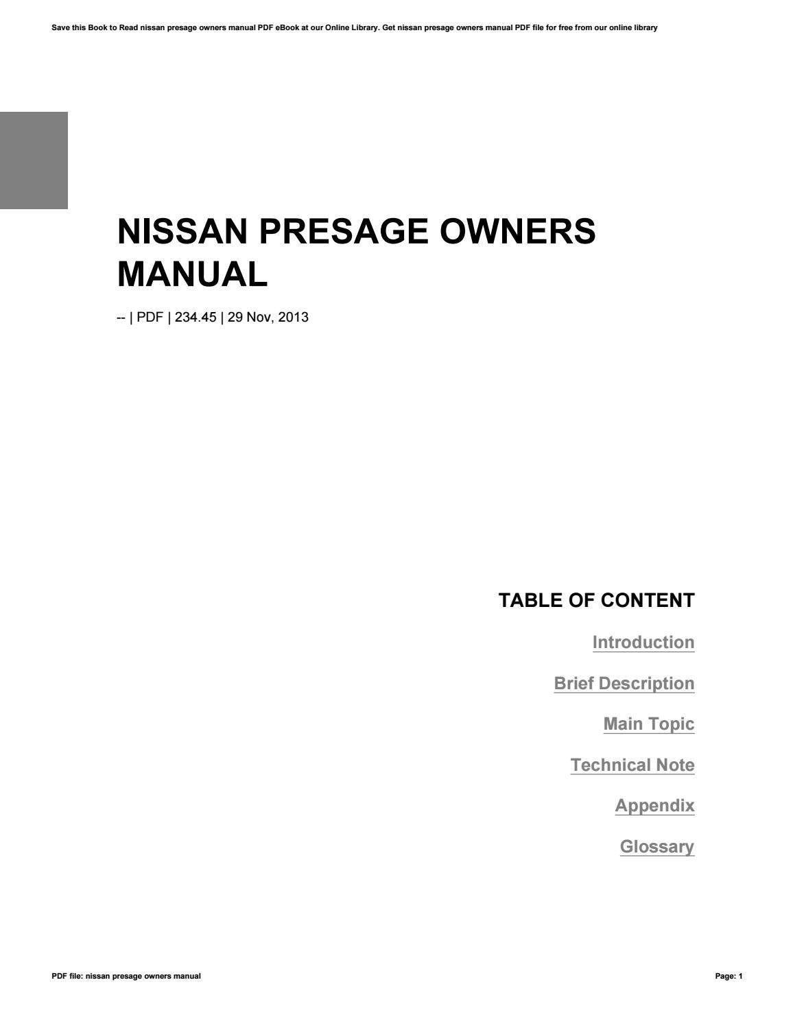 nissan presage user manual ebook