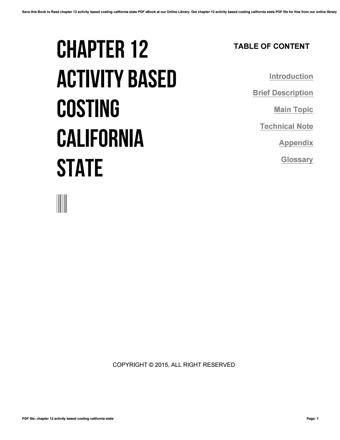 introduction to activity based costing