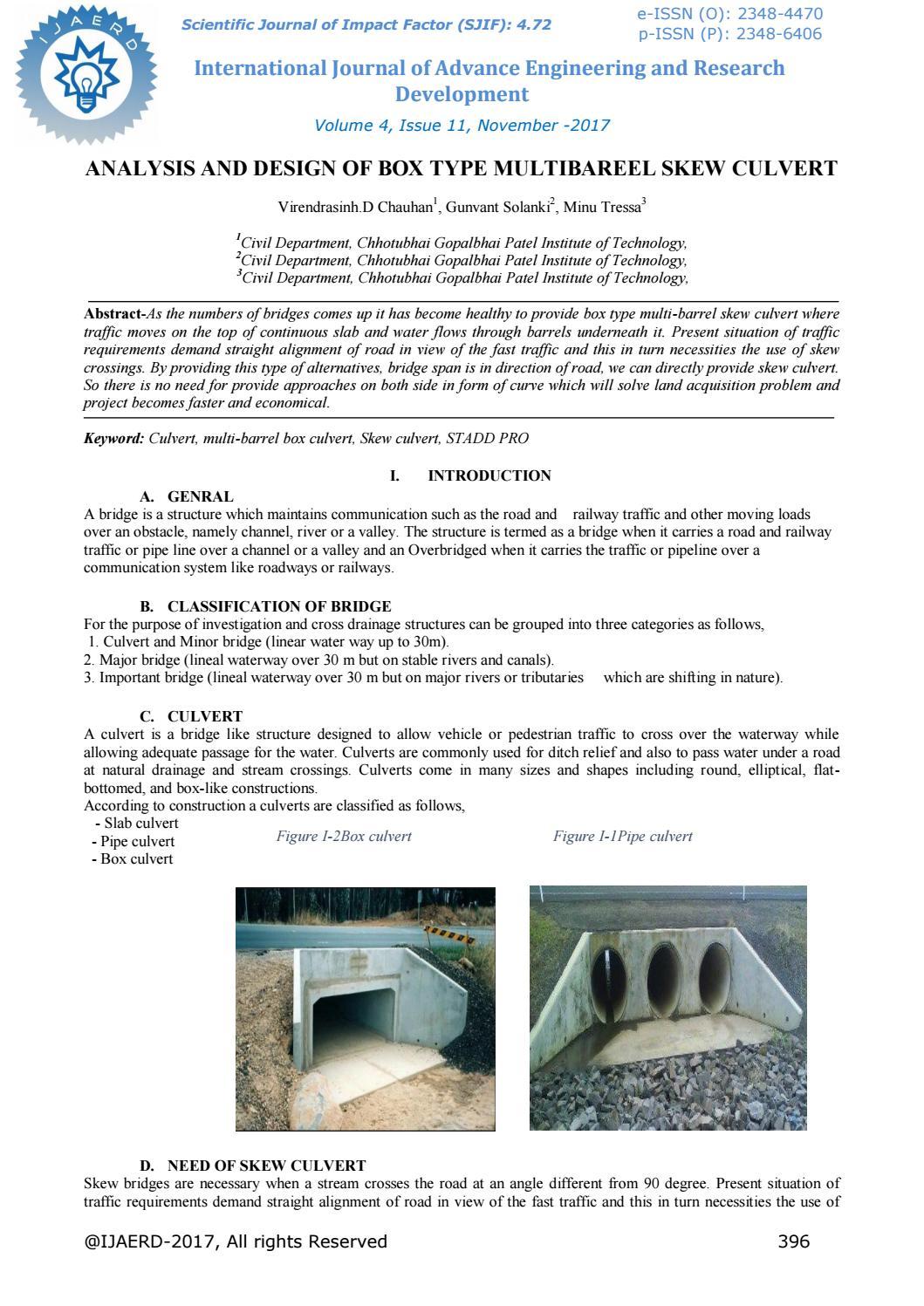 Analysis and design of box type multibareel skew culvert