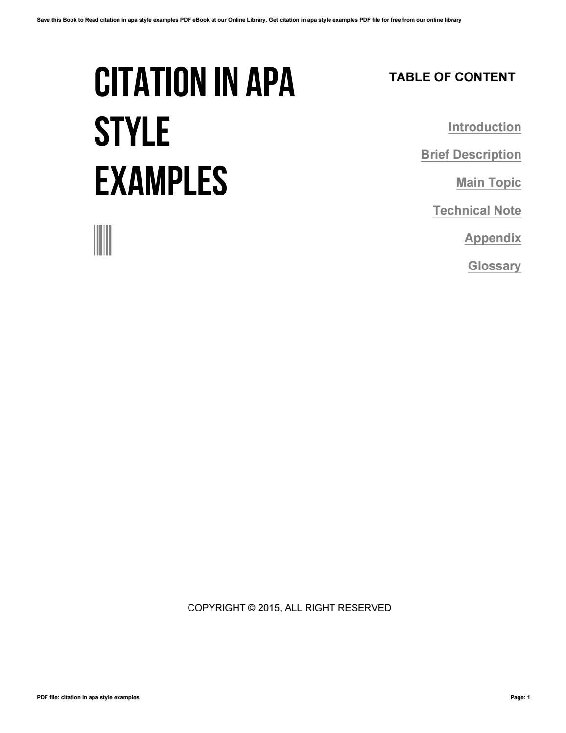 Citation in apa style examples by o055 issuu for Dental office manual template