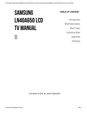 samsung ln40a650 lcd tv manual by caseedu47 issuu rh issuu com Samsung Camera Manual Samsung LCD TV Schematic