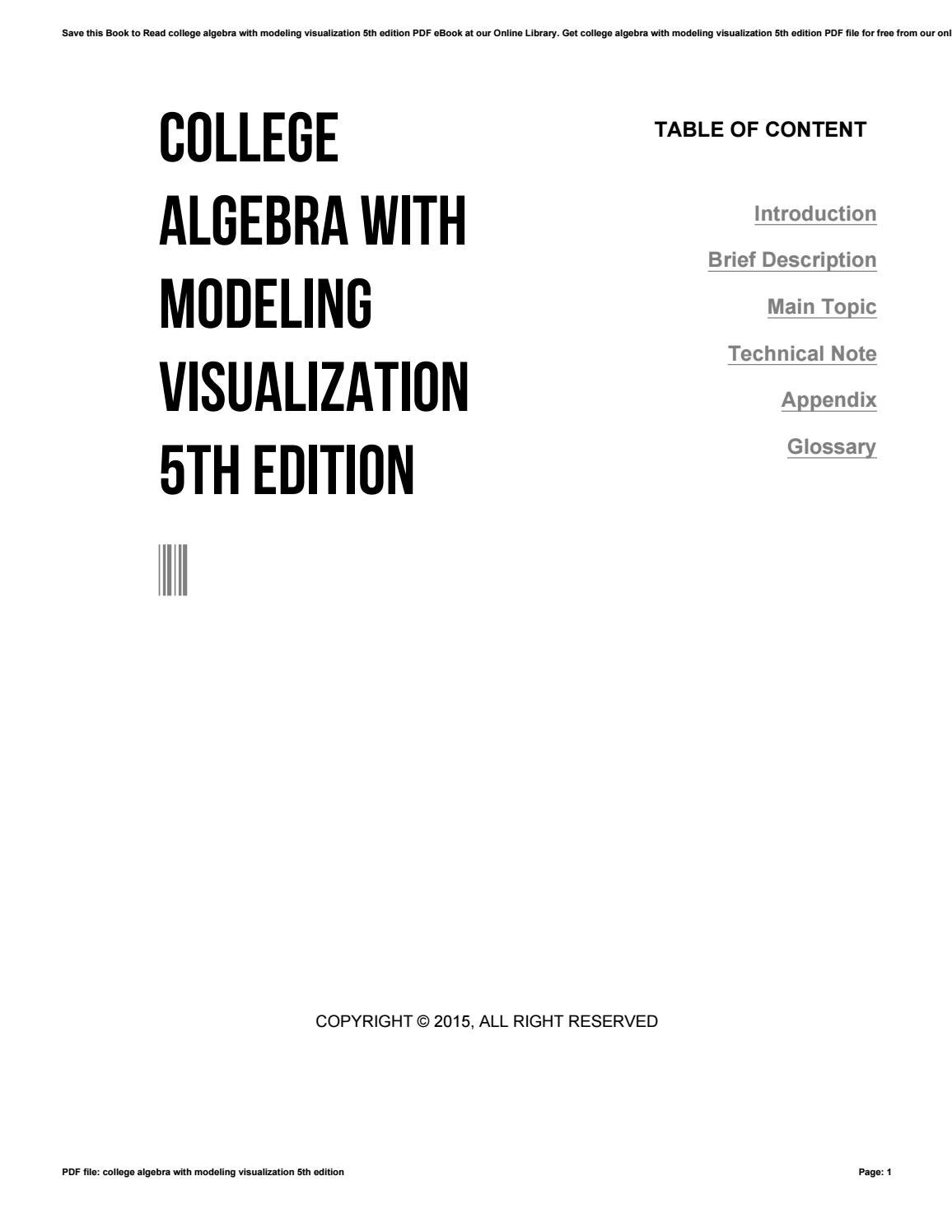 College algebra with modeling visualization 5th edition by ...
