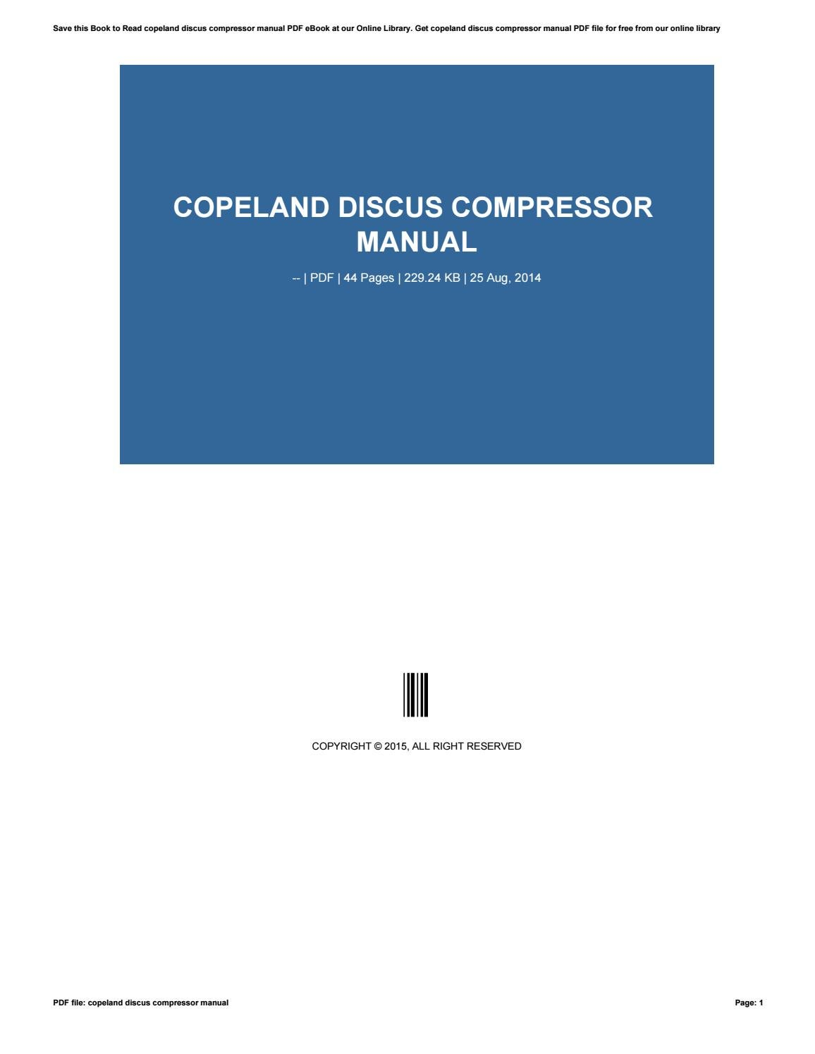 Copeland Compressor Schematic Discus Manual By Jklasdf75 Issuu