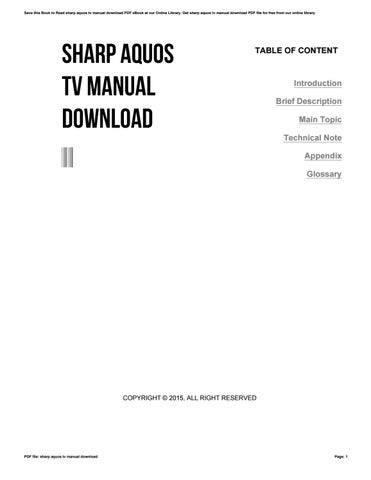 Sharp aquos tv manual download by uacro4 - issuu