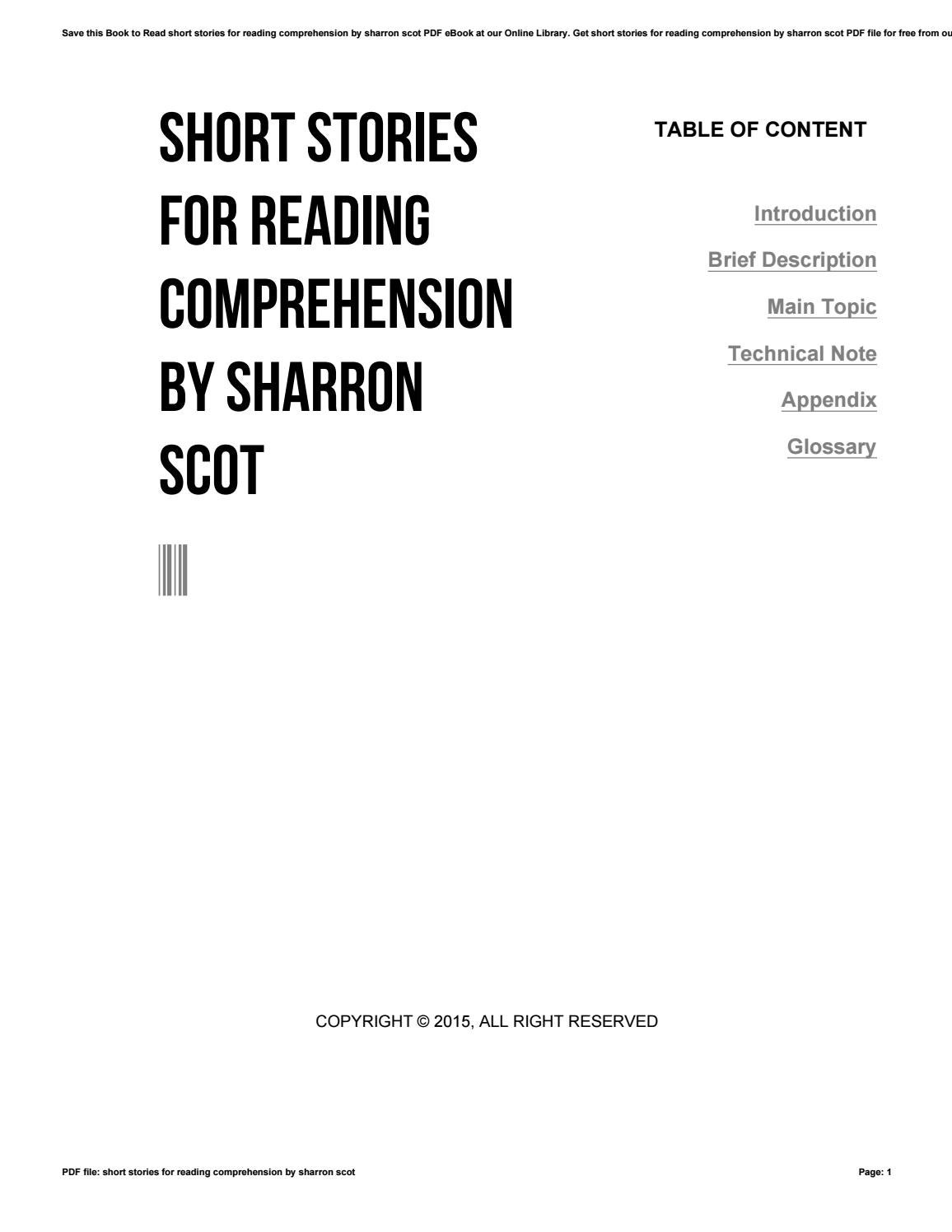 - Short Stories For Reading Comprehension By Sharron Scot By Uacro4