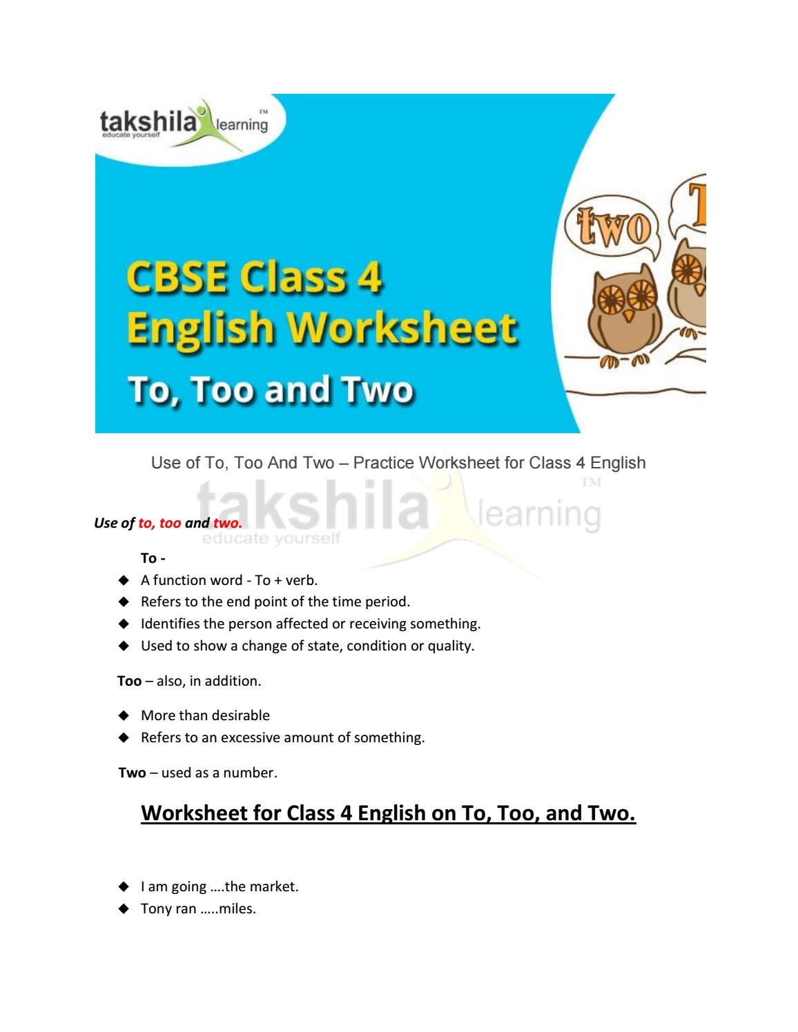 4th class english use of to, too and two practice worksheet for ...