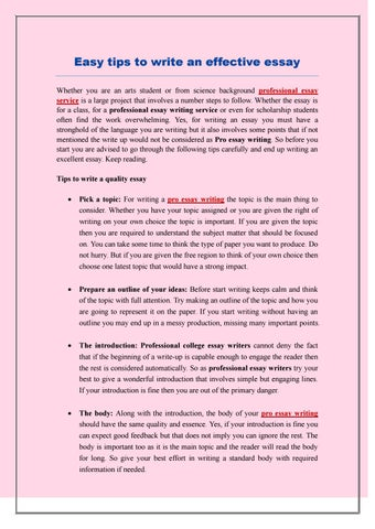 Research Essay Thesis Statement Example Easy Tips To Write An Effective Essay Whether You Are An Arts Student Or  From Science Background Professional Essay Service Is A Large Project That  Involves  Sample Essay Paper also Essays On Science Fiction Easy Tips To Write An Effective Essay By Proessay Writings  Issuu Synthesis Essay Prompt