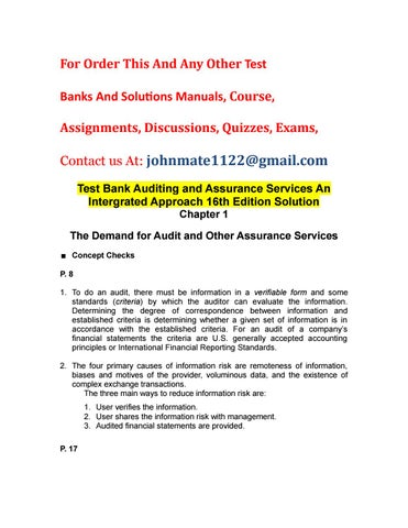 Test Bank Auditing And Assurance Services An Intergrated